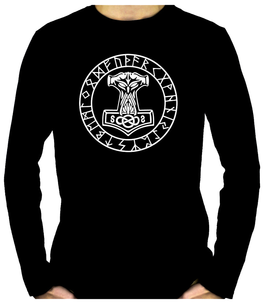 Mjolnir Mighty Thor Hammer Rune Script Men's Long Sleeve T-Shirt Viking