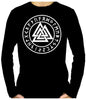 Valknut Odin Viking Symbol Runes Script Men's Long Sleeve T-Shirt Triangle Knot