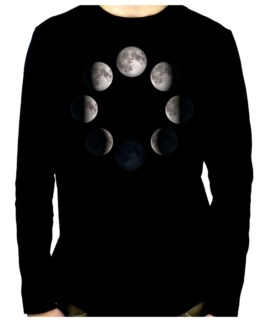 Moon Lunar Phases Men's Long Sleeve T-Shirt New Crescent Full