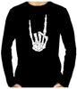 Skeleton Hand Horns Up Metal Men's Long Sleeve T-Shirt Gothic Clothing