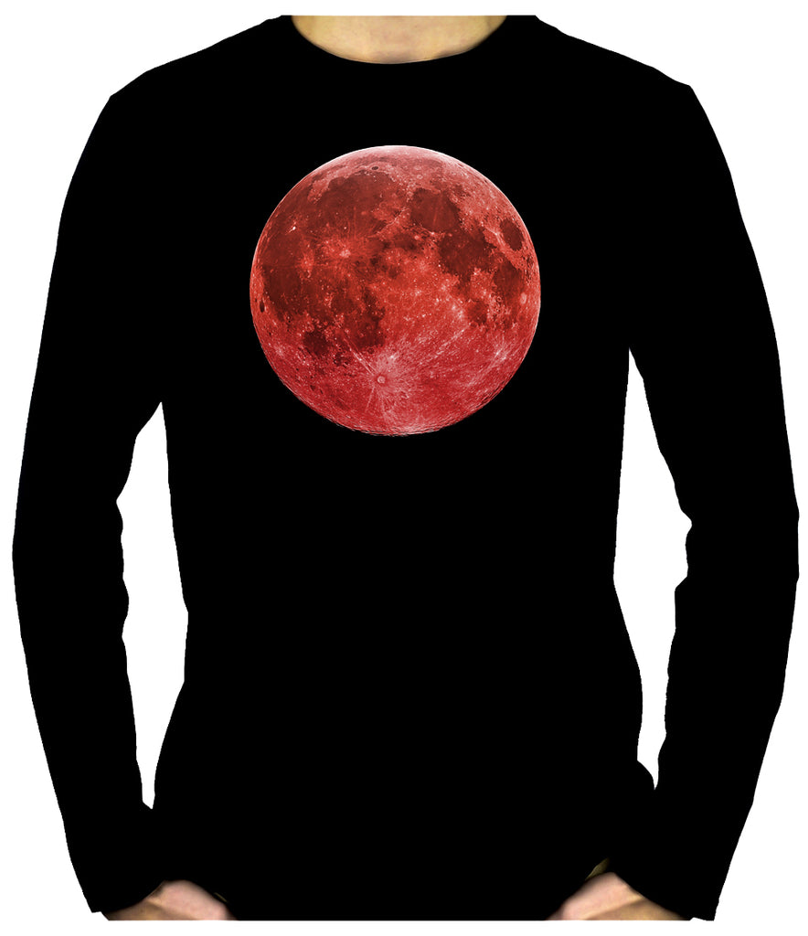 Blood Red Full Moon Men's Long Sleeve T-Shirt Lunar Eclipse