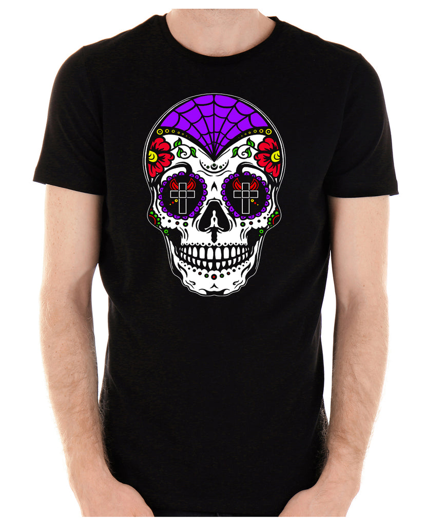 "Sugar Skull Calavera Men's T-Shirt ""Dia De Los Muertos"" Day of the Dead"