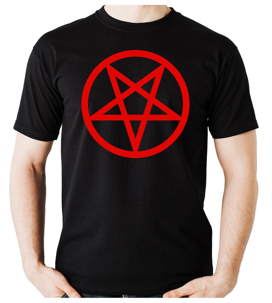Red Inverted Pentagram Men's T-Shirt Occult Clothing