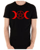 Red Triple Moon Goddess Pentagram Men's T-Shirt Occult Clothing