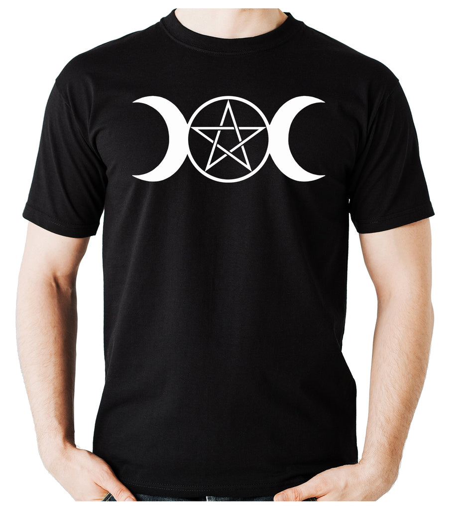 White Triple Moon Goddess Pentagram Men's T-Shirt Occult Clothing