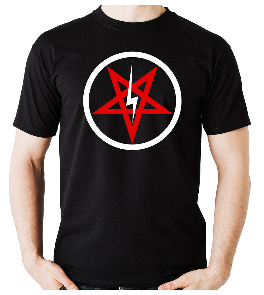 Inverted Pentagram Lightning Bolt Men's T-Shirt Metal Clothing