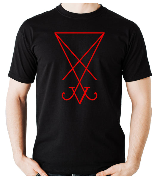 Red Sigil Of Lucifer Men's T-Shirt Occult Clothing