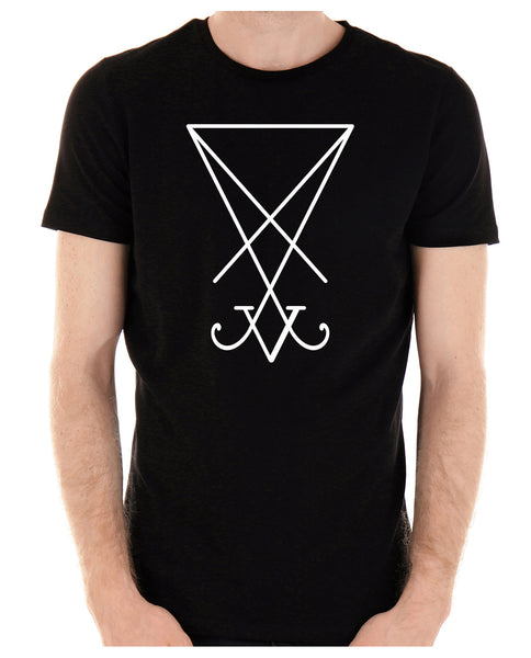 White Sigil Of Lucifer Men's T-Shirt Occult Clothing