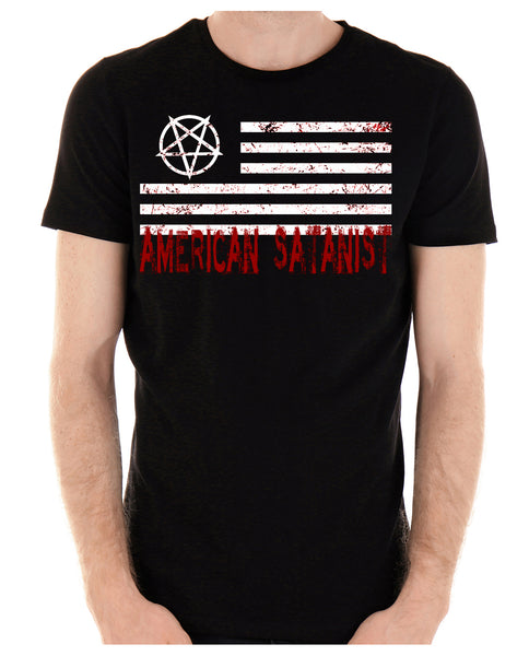 American Satanist Bloody Flag Pentagram T-Shirt Hail Satan Occult Alternative Clothing