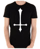 White Unholy Inverted Medieval Cross Men's T-Shirt Occult Clothing