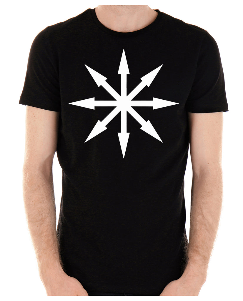 White Eight Pointed Arrow Chaos Star Men's T-Shirt Occult Clothing