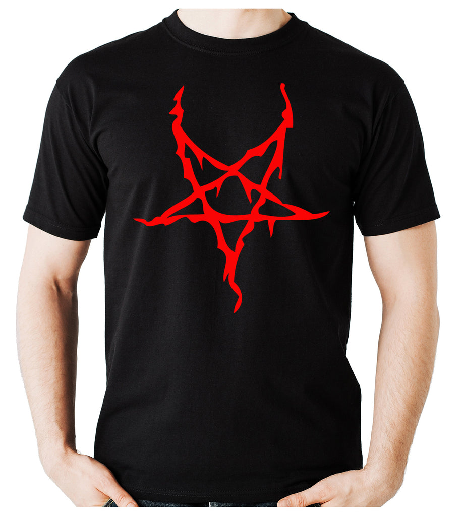 Red Thorn Jagged Inverted Pentagram Men's T-Shirt Occult Clothing