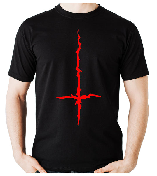 Red Thorn Jagged Inverted Cross Men's T-Shirt Occult Clothing