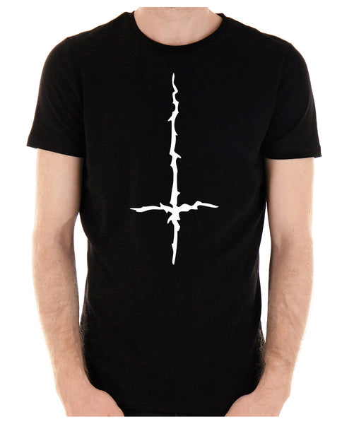White Thorn Jagged Inverted Cross Men's T-Shirt Occult Clothing