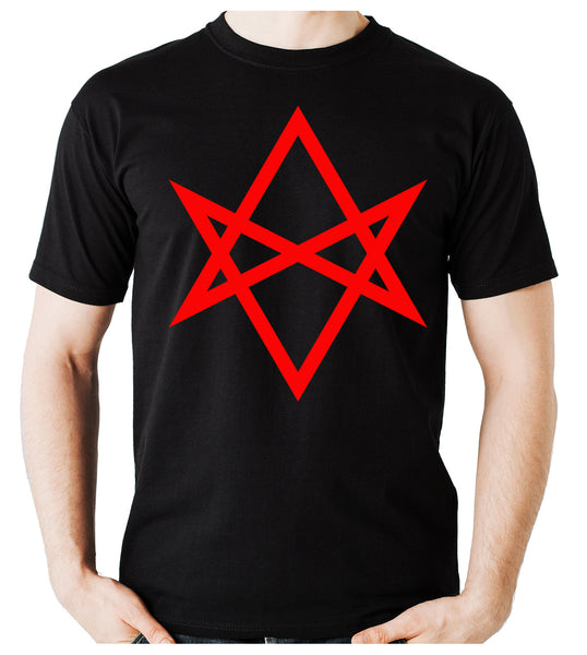 Red Unicursal Hexagram Six Pointed Star Men's T-Shirt Occult Clothing