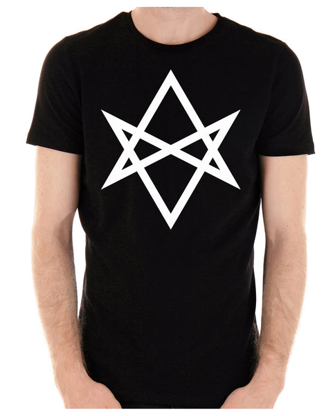 White Unicursal Hexagram Six Pointed Star Men's T-Shirt Occult Clothing