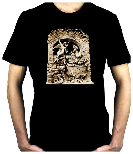 Diableries Devil Hell Scene Men's T-Shirt Skeletons in Cauldron