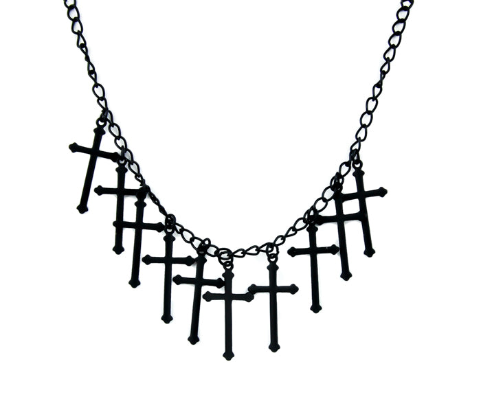 Black Gothic Hanging Crosses Cross Necklace Jewelry