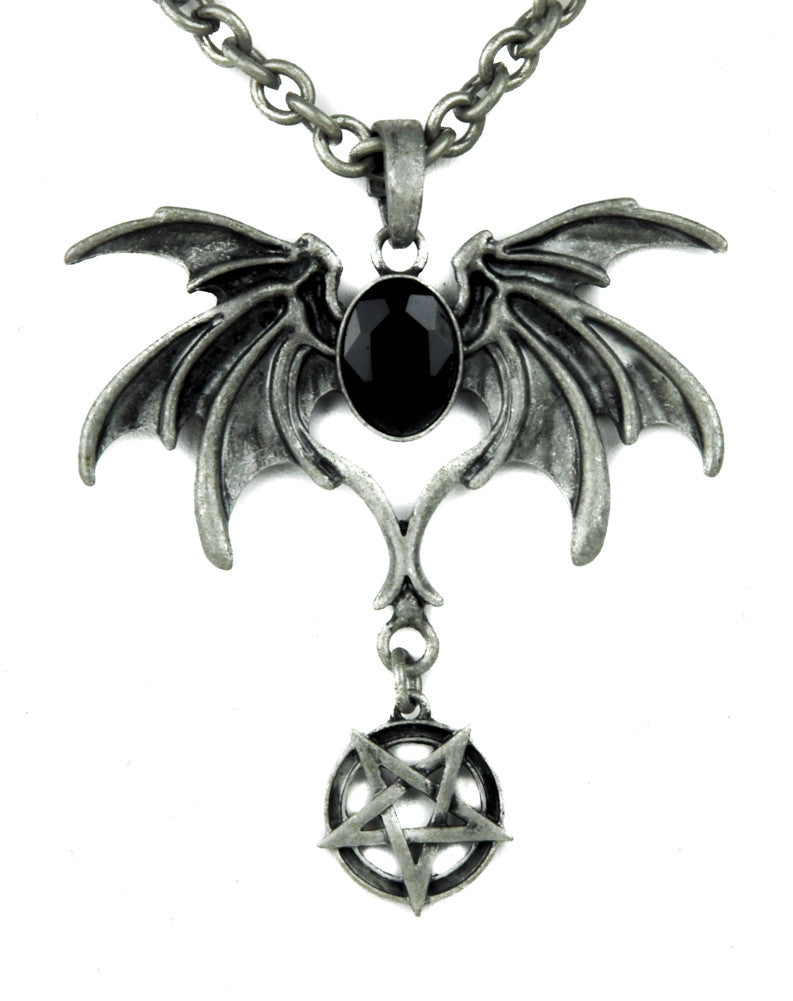 Black stone bat death wings necklace gothic pendant with inverted black stone bat death wings necklace gothic pendant with inverted pentagram aloadofball Choice Image