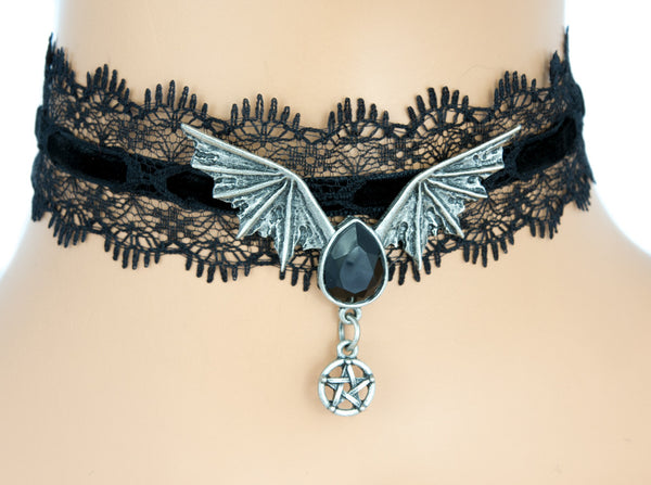 Sexy Black Lace Choker with Bat Wing Black Stone Pendant Gothic Jewelry Necklace