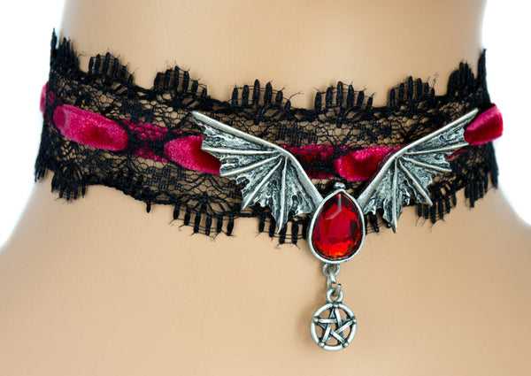 Black Lace Red Velvet Choker with Bat Wing Red Stone Pendant Gothic Jewelry