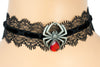 Sexy Lace Velvet Choker with Red Stone Black Widow Spider Pendant Gothic Jewelry