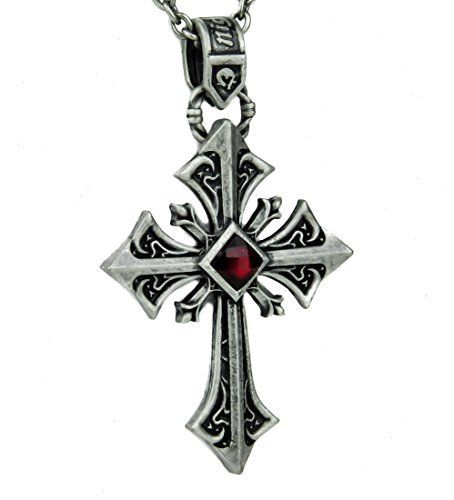 Silver Gothic Cross Necklace with Red Stone