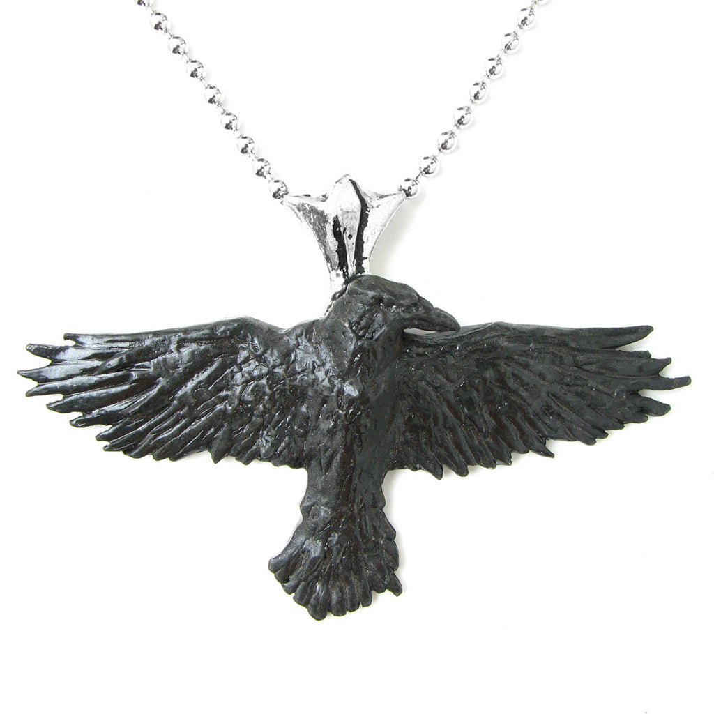 Alchemy Gothic Black Raven Pendant Necklace Crow
