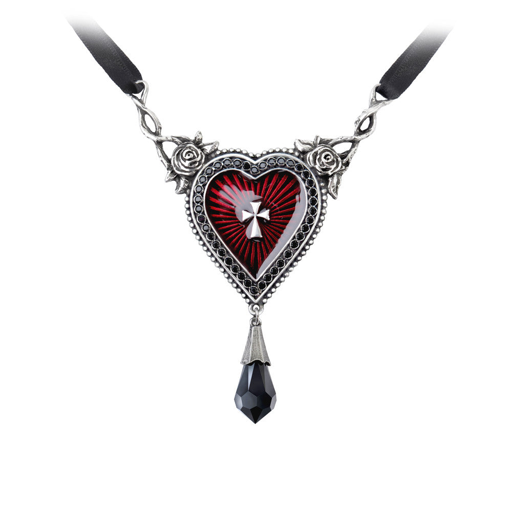 Alchemy Gothic The Sacred Red Heart w/ Roses & Teardrop Choker Pendant Necklace
