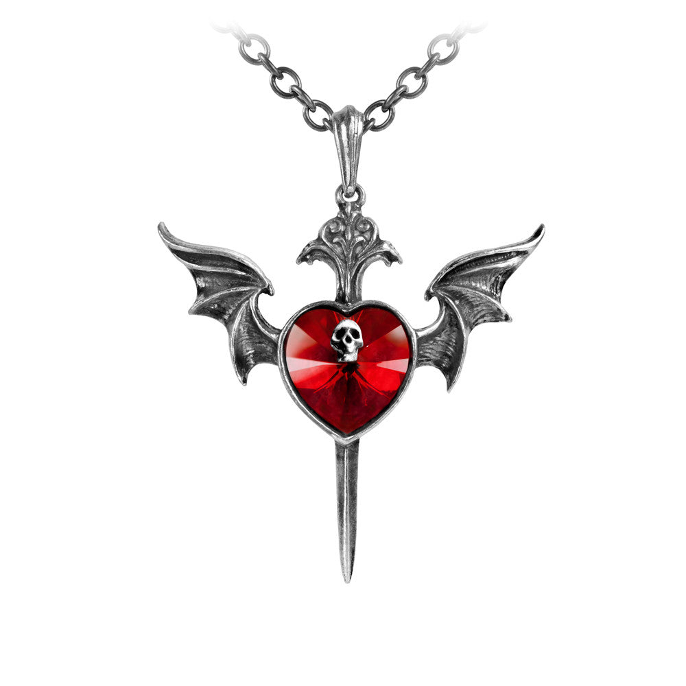 Alchemy Gothic Death Of A Vampire Red Heart w/ Skull, Bat Wings & Stake Pendant Necklace