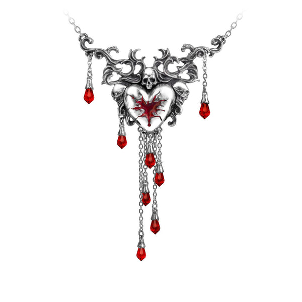 Alchemy Gothic Bleeding Heart w/ Skull Pendant Necklace