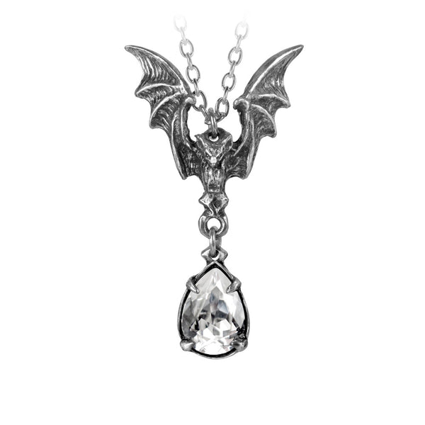 Alchemy Gothic La Nuit Bat & Tear Drop Pendant Necklace