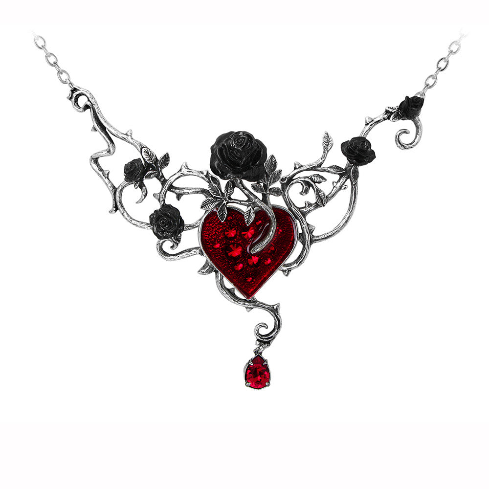 Alchemy Gothic Bed Of Blood Black Roses & Red Heart & Teardrop Pendant Necklace