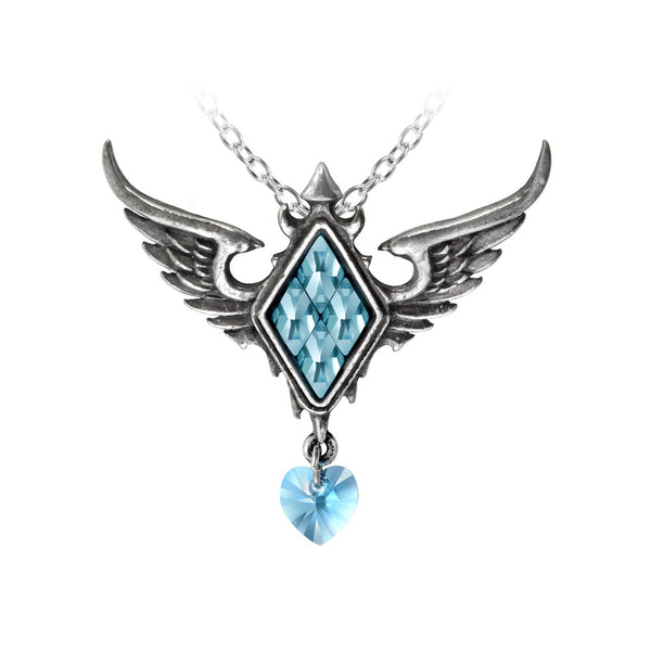 Alchemy Gothic Blue Frozen Heart & Wings Pendant Necklace