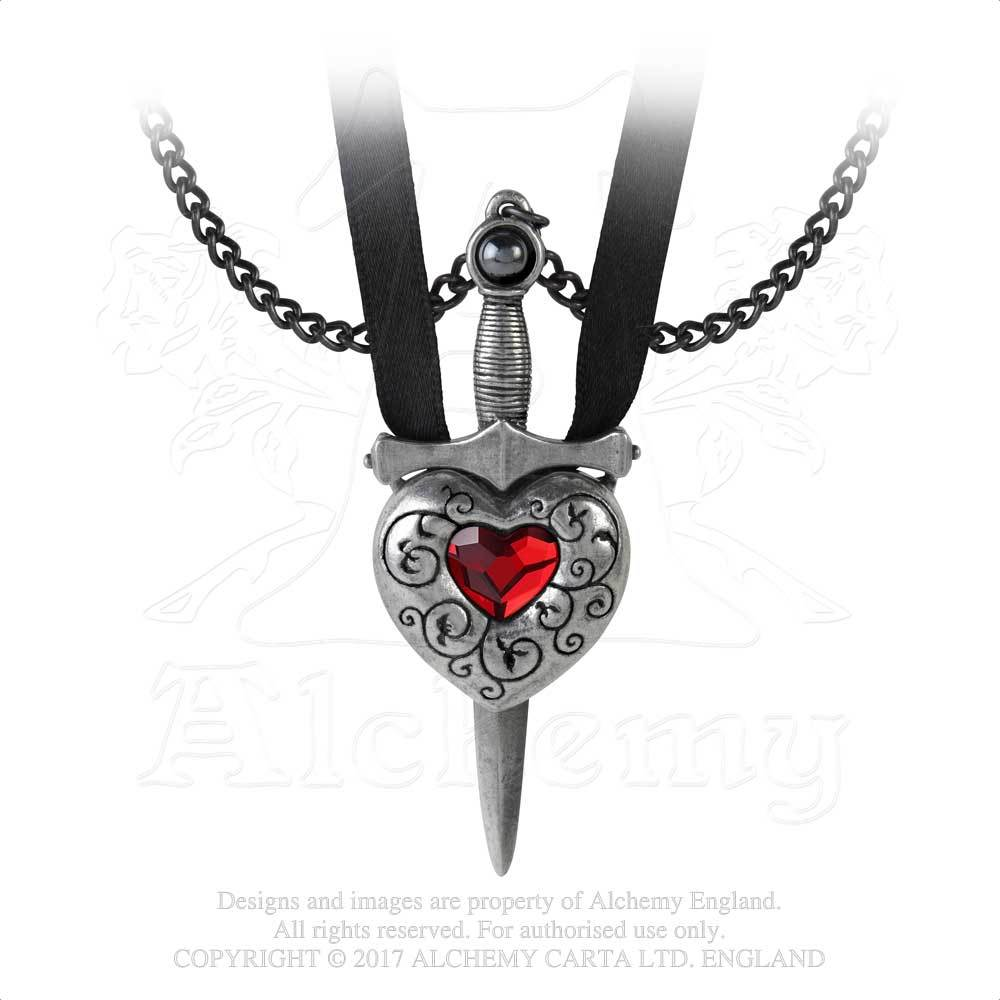 Alchemy Gothic Love is King Red Heart & Sword Pendant Necklace