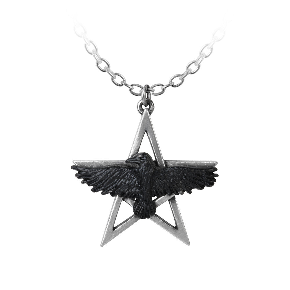 Alchemy Gothic Ghost-seer Pendant Necklace Pentagram Raven