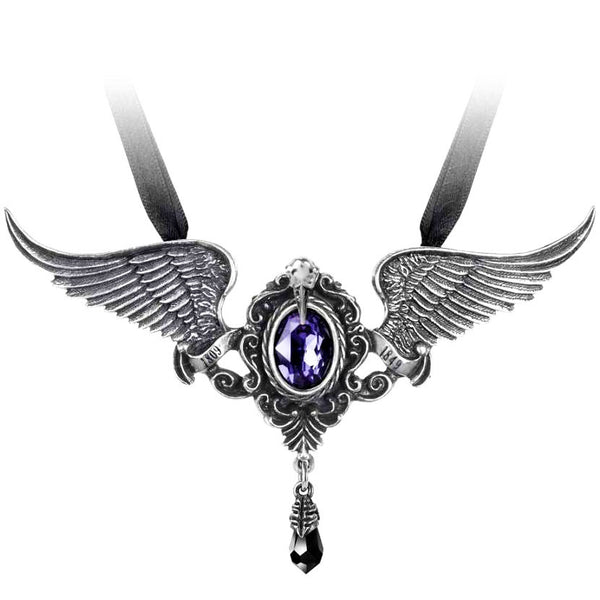 Alchemy Gothic My Soul from the Shadow Pendant Necklace w/ Raven Skull, Wings & Purple Cameo