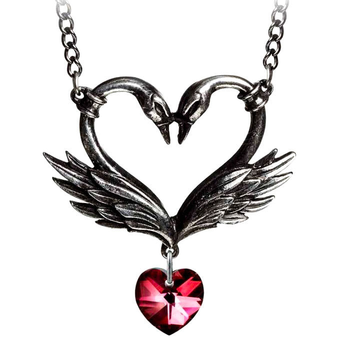 Alchemy Gothic The Black Swan Romance Red Heart Pendant Necklace