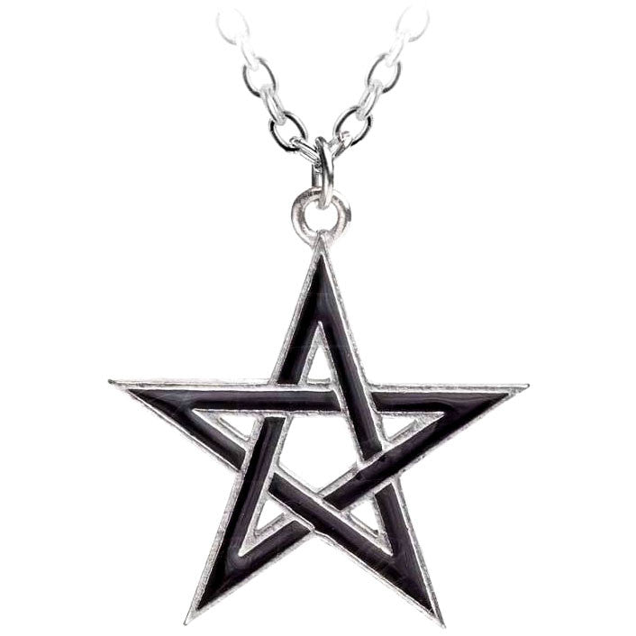 Alchemy Gothic Black Woven Star Pendant Necklace