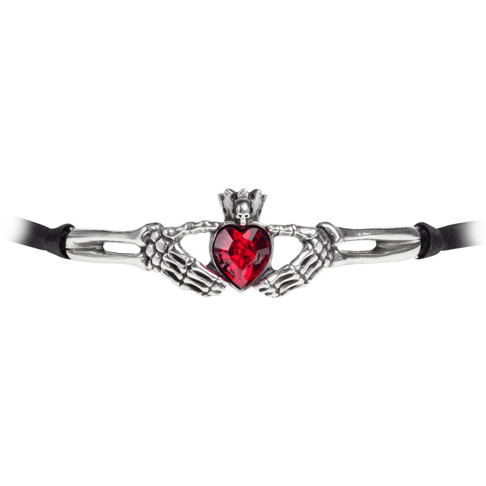 Alchemy Gothic Claddagh By Night Choker Necklace Red Heart w/ Skull & Skeleton Hands