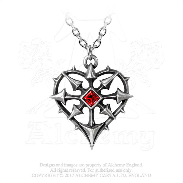 Alchemy Gothic Entropassio Chaos Star & Heart Pendant Necklace