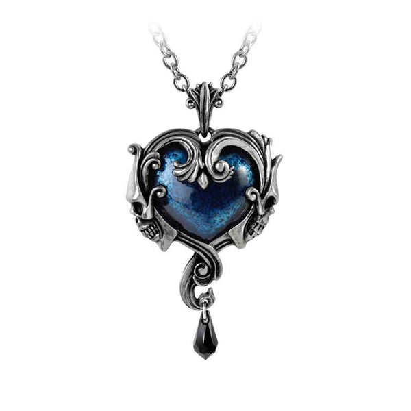 Alchemy Gothic Affaire du Coeur Blue Heart w/ Skulls Pendant Necklace