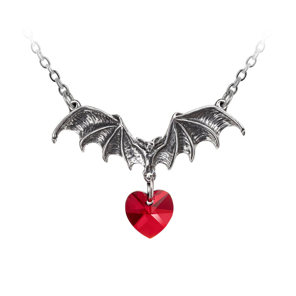 Alchemy Gothic Vampire Bat Loveheart Pendant Necklace Red Heart