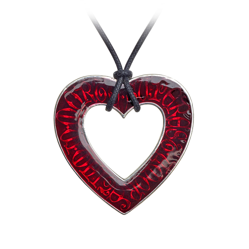 Alchemy Gothic Love Over Death Red Heart Pendant Necklace