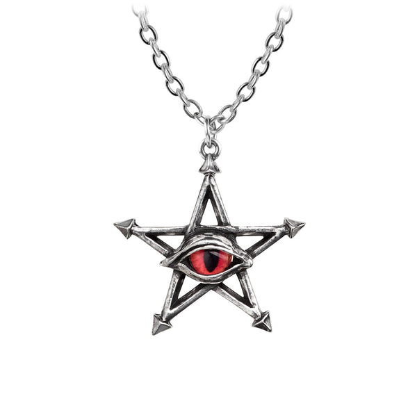 Alchemy Gothic Evil Red Eye Curse Pentacle Pendant Necklace