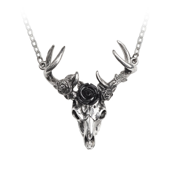 Alchemy Gothic White Hart, Black Rose Skull Pendant Necklace