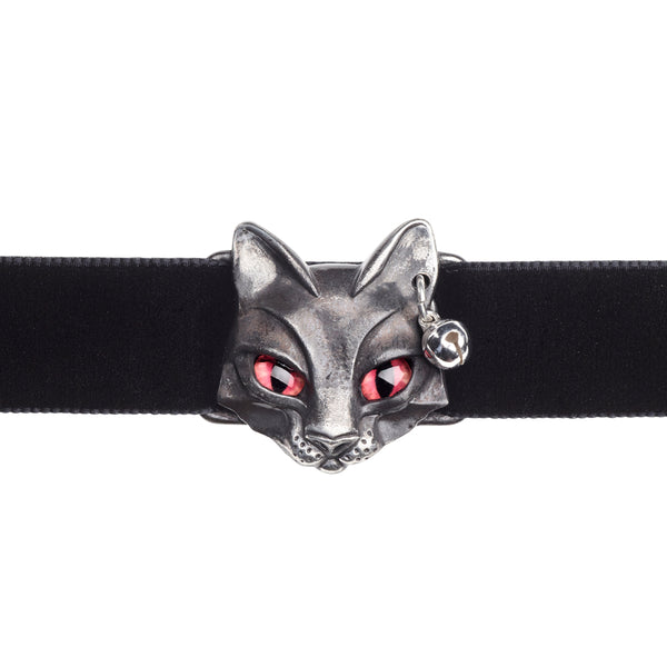 Alchemy Gothic Bastet Goddess Black Kitty Cat Choker Pendant Necklace