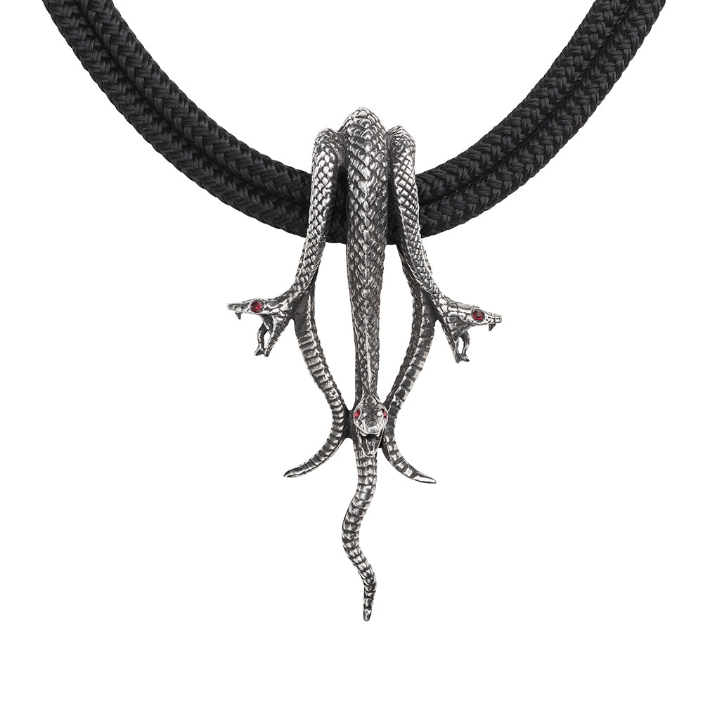 Alchemy Gothic  Hydra Necklace Snake Serpent Pendant Necklace Medusa