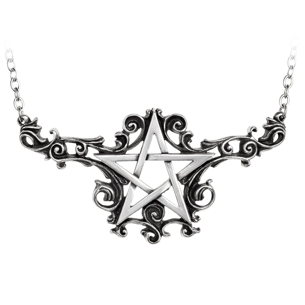 Alchemy Gothic Talismanik Swirly Pentagram Pendant Necklace