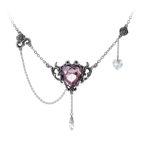 Alchemy Gothic Countess Kamila Pink Heart & Roses Pendant Necklace